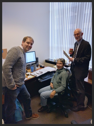 Photo: Tom Stenson, Kathy Wilde, and Bob Joondeph work together in an office